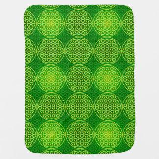 Flower of Life - stamp pattern - green Swaddle Blanket