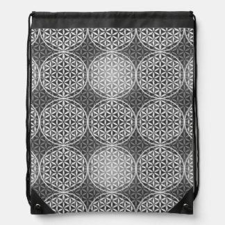 Flower of Life - stamp pattern - grey Drawstring Backpack