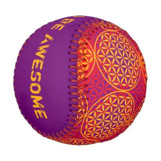 Flower of Life - stamp pattern - orange pink Baseball