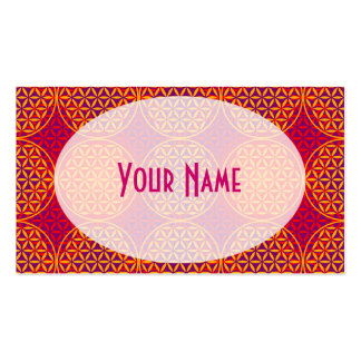 Flower of Life - stamp pattern - orange pink Business Card