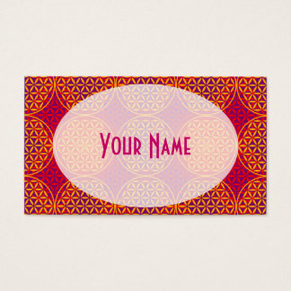 Flower of Life - stamp pattern - orange pink Business Card