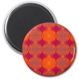 Flower of Life - stamp pattern - orange pink Refrigerator Magnet