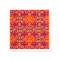 Flower of Life - stamp pattern - orange pink Paper Napkin
