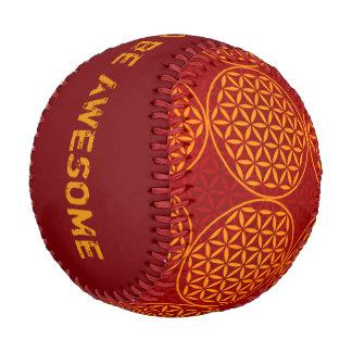 Flower of Life - stamp pattern - orange red Baseball