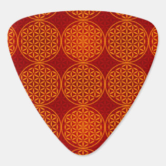 Flower of Life - stamp pattern - orange red Guitar Pick