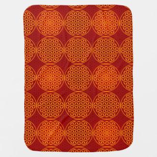 Flower of Life - stamp pattern - orange red Swaddle Blankets