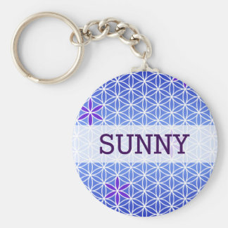 Flower Of Life - stamp seamless pattern - blue Key Chains