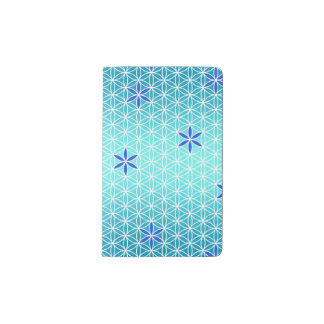 Flower Of Life - stamp seamless pattern - cyan Pocket Moleskine Notebook