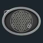 """FLOWER OF LIFE - stamp - silver / Blume des Lebens Belt Buckle<br><div class=""""desc"""">Die Blume des Lebens / Flower Of Life ist die Ursprache des Universums; Formen,  Geometrie,  Zahlen und Proportionen. Sie strahlt die Harmonie und Vollkommenheit der heiligen Geometrie aus und steht f&#252;r Unendlichkeit und vollkommene Ordnung.</div>"""