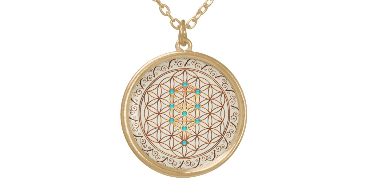 Flower Of Life Tree Of Life Kabbalah Sephiroth Gold Plated Necklace Zazzle Com Tree of life pendants inspired by the kabbalah are often based upon sacred geometry concepts. flower of life tree of life kabbalah sephiroth gold plated necklace zazzle com
