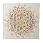 Flower of Life, Tree of Life, Kabbalah, Sephiroth Small Square Tile