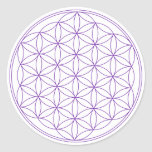 Flower of Life Violet Classic Round Sticker