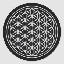 FLOWER OF LIFE - white Classic Round Sticker