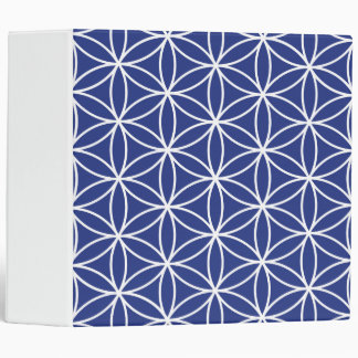 Flower of Life White on Blue Big Pattern Binder