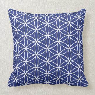 Flower of Life White on Blue Pattern Throw Pillow