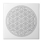 FLOWER OF LIFE - white Small Square Tile