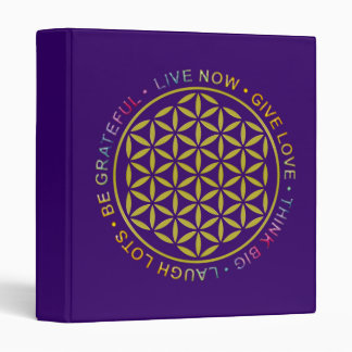 Flower Of Life with Rules Of Life 3 Ring Binder