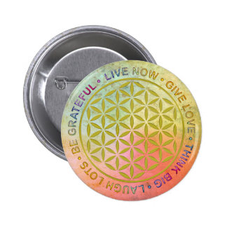 Flower Of Life with Rules Of Life Pinback Button