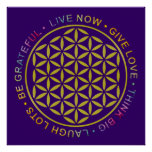 Flower Of Life with Rules Of Life Posters