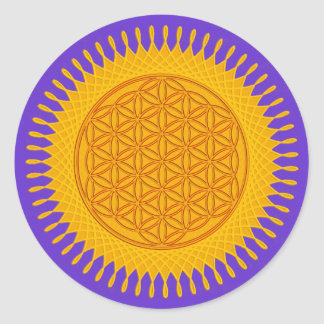 Flower Of Life - yellow sunny Classic Round Sticker