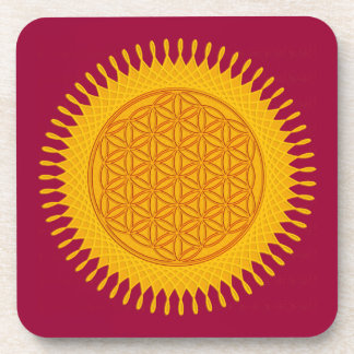 Flower Of Life - yellow sunny Coaster