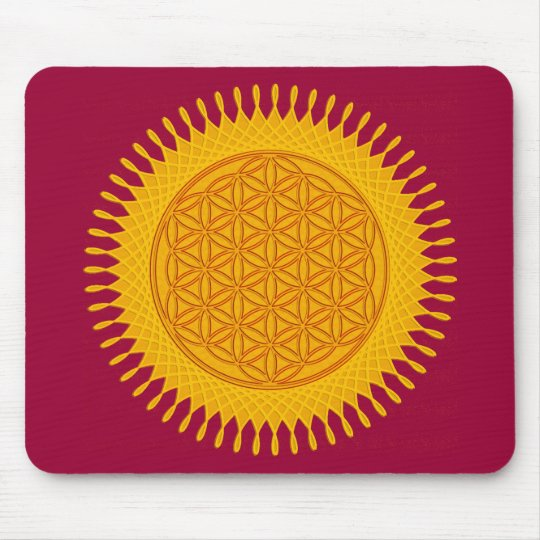 Flower Of Life - yellow sunny Mouse Pad