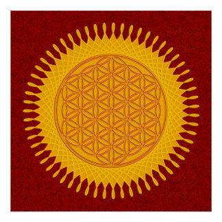 Flower Of Life - yellow sunny Poster