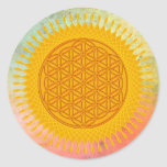 Flower Of Life - yellow sunny Stickers