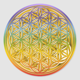 Flower Of Live / full gold   chakren color Classic Round Sticker