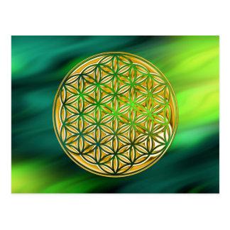 Flower Of Live / full gold   green waves Postcard