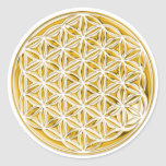 Flower Of Live / full gold Round Stickers
