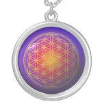 Flower Of Live / gold violet Round Pendant Necklace