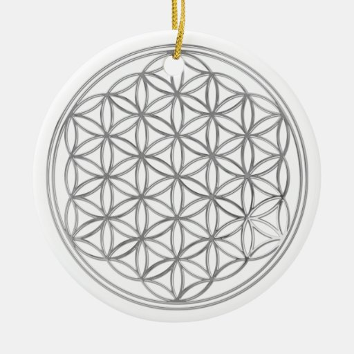 Flower Of Live / silver Double-Sided Ceramic Round Christmas Ornament