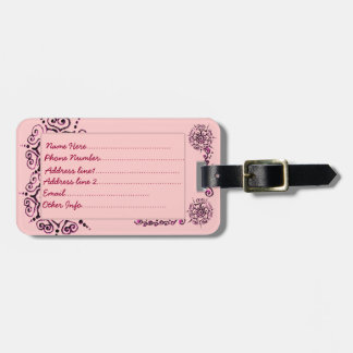 Flower Of Love (Henna) (Pink) Tag For Luggage