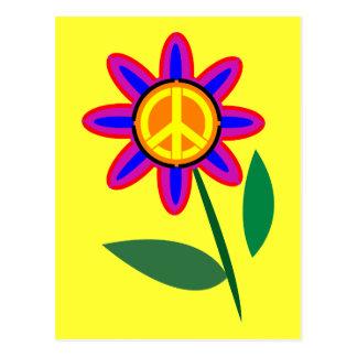 Flower of Peace - Peace Sign Pop Art Postcard