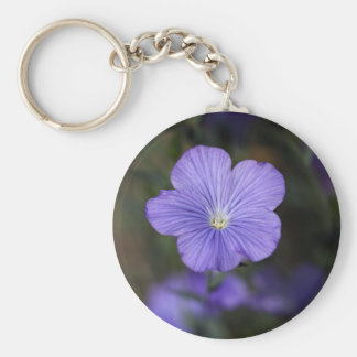 Flower of perennial or blue flax keychain
