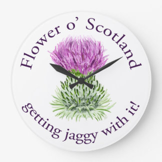 Flower of Scotland - getting jaggy with it! Large Clock