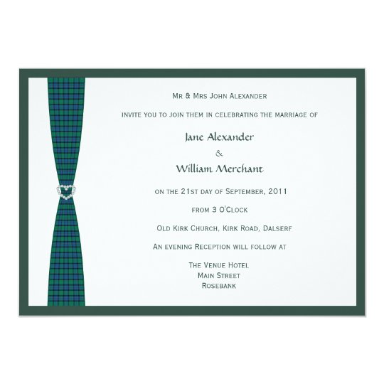 Flower of Scotland Plaid and Diamond Heart Design Card