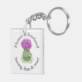Flower of Scotland. Strong, firm and true! Double-Sided Square Acrylic Keychain