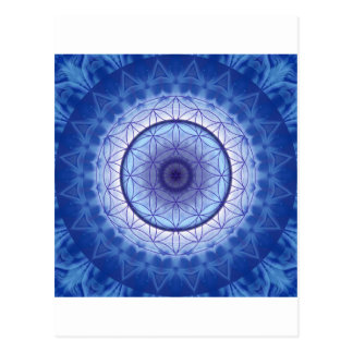 Flower of the life blue postcard