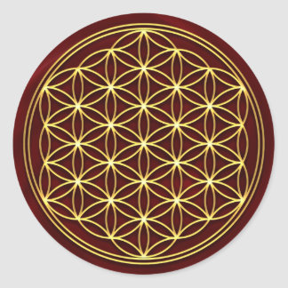 Flower of the life - Flower OF life - gold Classic Round Sticker