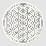 Flower of the life/Flower OF Life | more silver bi Round Stickers