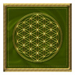 Flower of the life - green - gold poster