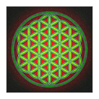 Flower of the life - green in morning red canvas print