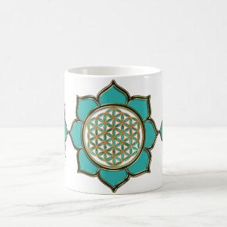 Flower of the life Lotus - turquoise/3x Mugs