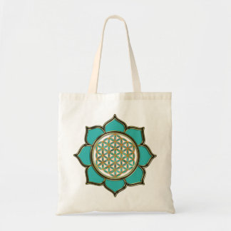 Flower of the life Lotus - turquoise Budget Tote Bag