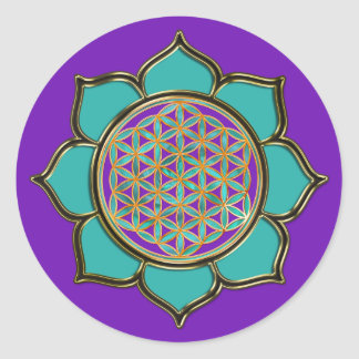 Flower of the life Lotus - turquoise/PUR-polarizes Classic Round Sticker
