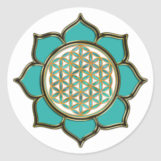 Flower of the life Lotus - turquoise/transparency Classic Round Sticker