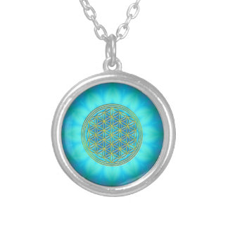 Flower of the life motive 11 round pendant necklace