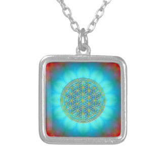 Flower of the life motive 11 square pendant necklace